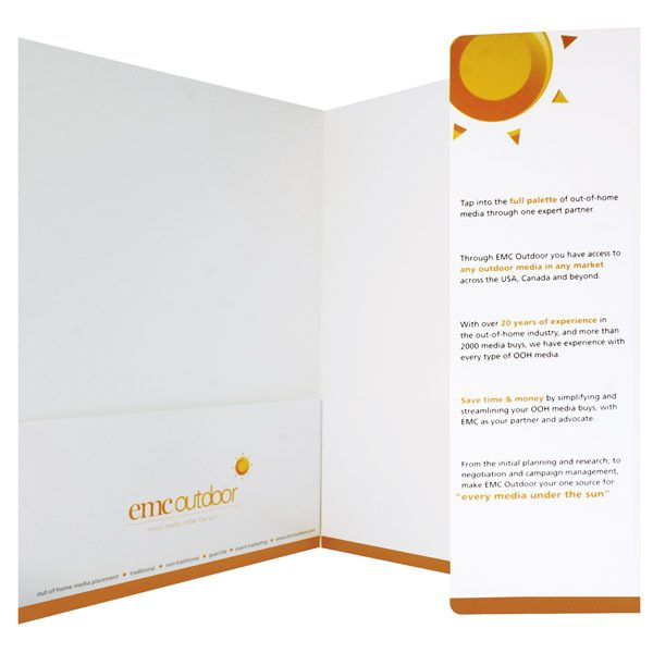 EMC Outdoor Orange Theme Folder (Inside Info Flap View)
