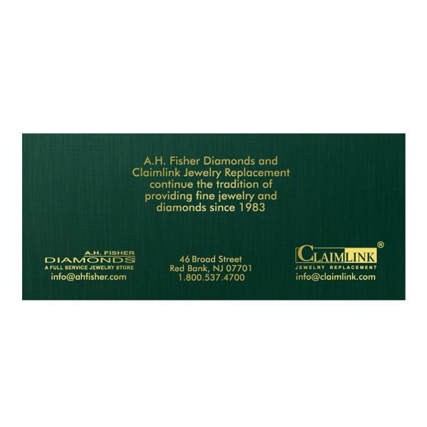 A. H. Fisher Diamonds Jewellery Store Presentation Folder (Back View)