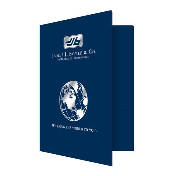 James J. Boyle & Co. Globe Logo Folder (Front Open View)
