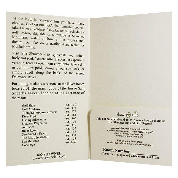 Shawnee Inn Golfing Resort Key Card Folder (Inside View)