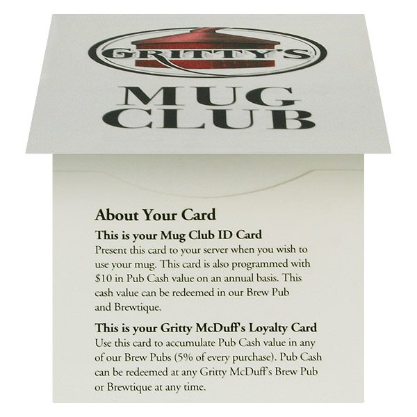Membership ID Card Holders for Gritty's Mug Club (Front Open View)