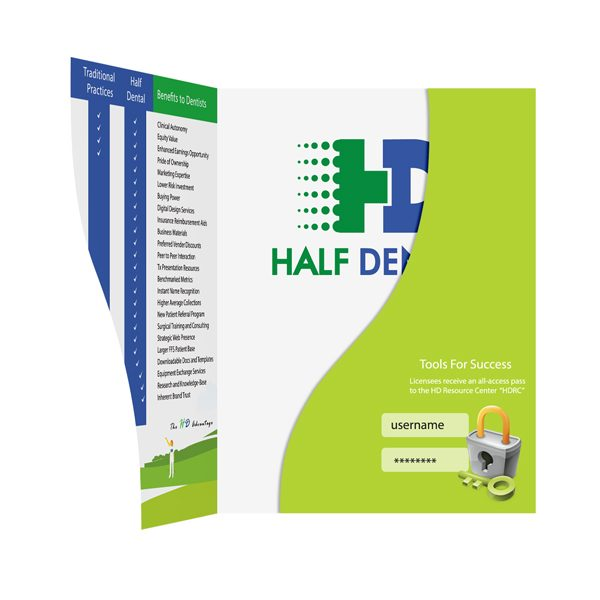 Half Dental Website Presentation Folder (Inside View)
