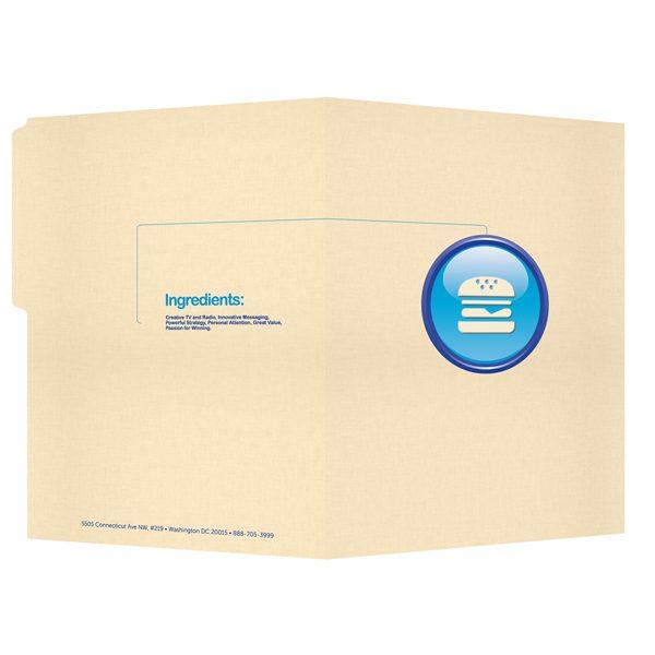 Hamburger Company Tab File Folder with Logo (Front and Back View)