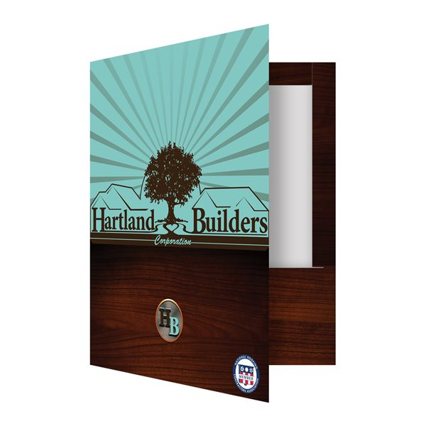 Hartland Builders Wood Grain Pocket Folder (Front Open View)
