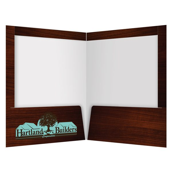 Hartland Builders Mahogany Wood Pocket Folder (Inside View)
