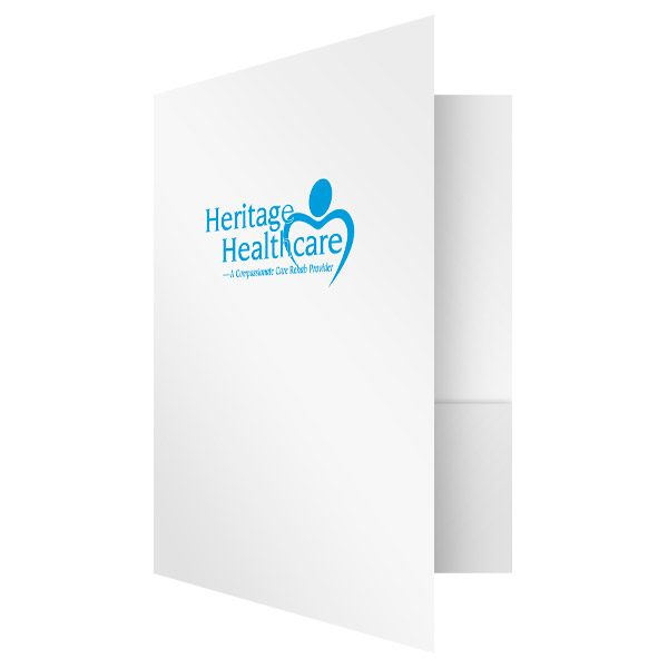 Heritage Healthcare White and Blue Medical Folder (Front Open View)