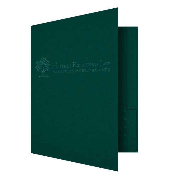 Heather Robertson Green Linen Pocket Folder (Front Open View)