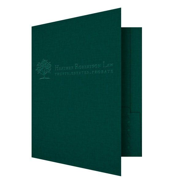 Heather Robertson Green Linen Pocket Folder (Front Open View)