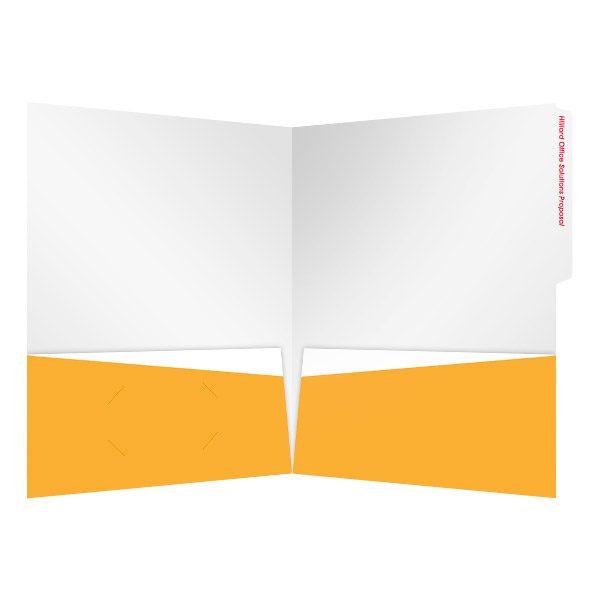 Hilliard White & Orange Pocket Folder (Inside View)