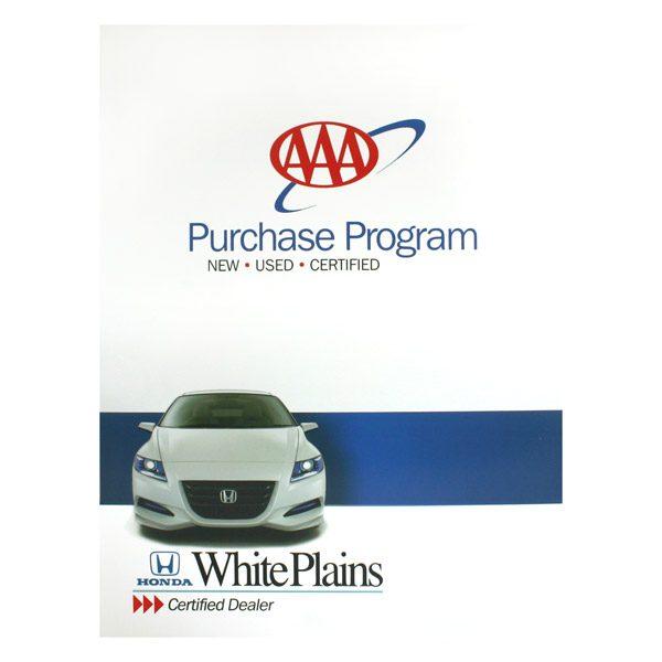 White Plains Honda Car Dealership Folder (Front View)