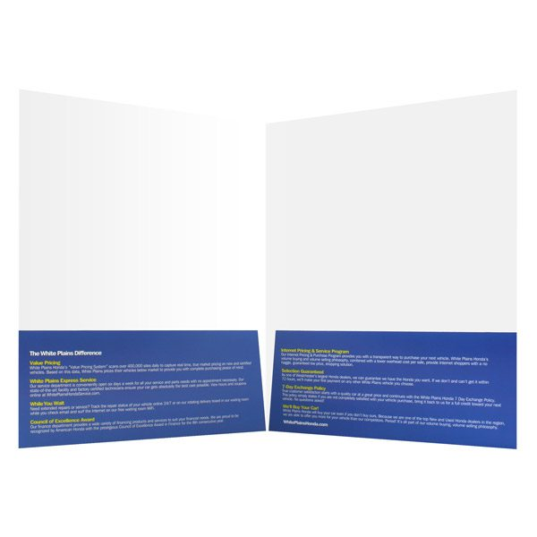 Vehicle Document Folder for White Plains Honda (Inside View)