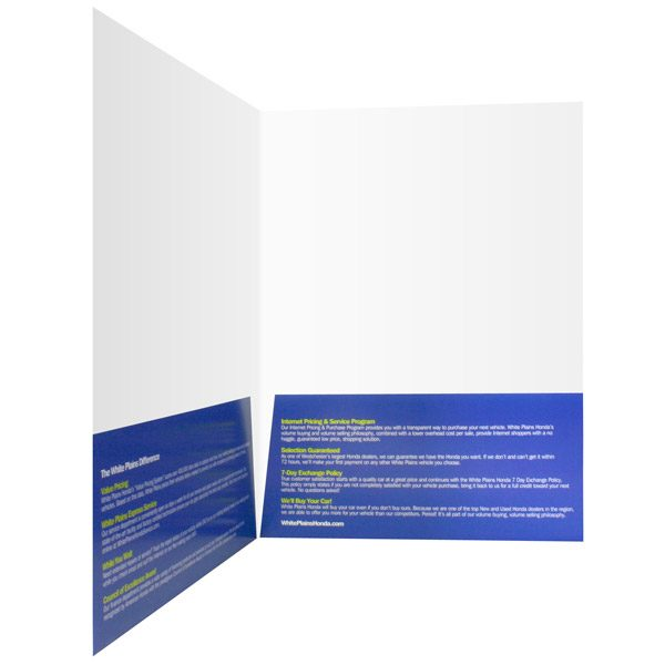 White Plains Honda 2-Pocket Car Dealer Folder (Inside Pocket View)