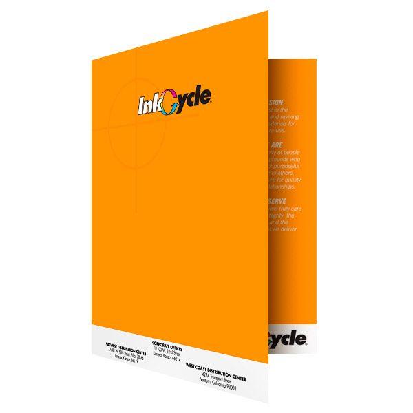 InkCycle Orange Presentation Folder Design (Front Open View)