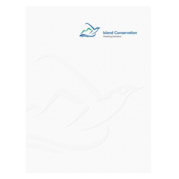 Island Conservation Embossed Presentation Folder (Front View)