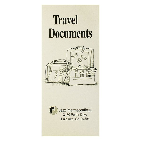Jazz Pharmaceuticals 4-Pocket Travel Documents Folder (Front View)
