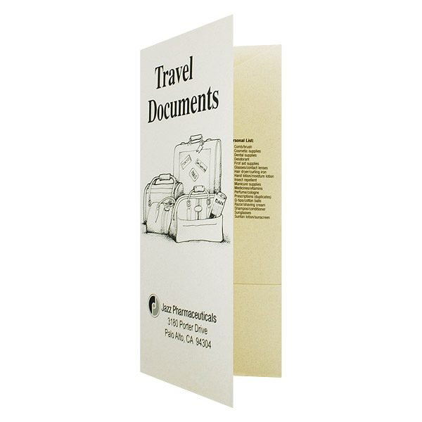 4-Pocket Travel Documents Folder for Jazz Pharmaceuticals Company (Front Open View)