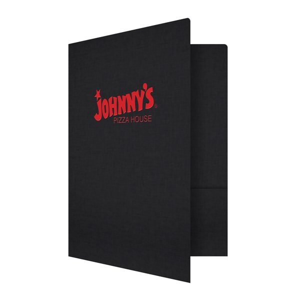 Foil Stamped Folders for Johnny's Pizza House (Front Open View)