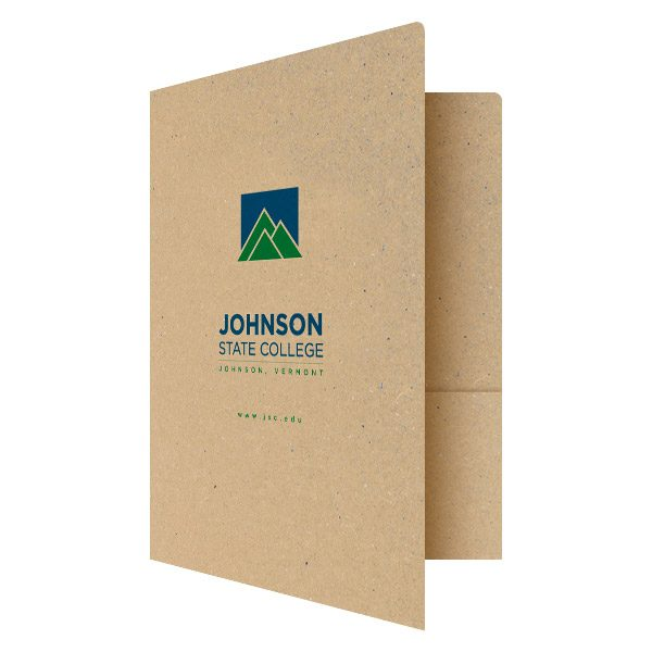Kraft Presentation Folders for Johnson State College (Front Open View)