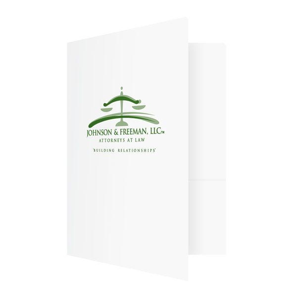 Personalized Legal Folders for Johnson & Freeman (Front Open View)