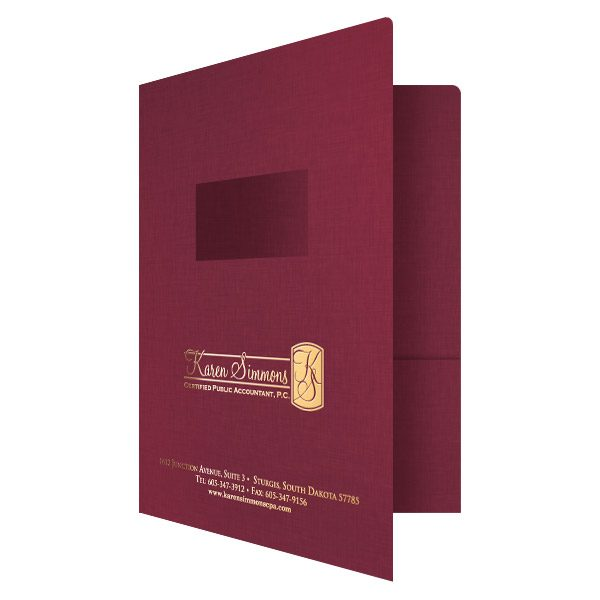 Karen Simmons Red Foil Stamped Accounting Folder (Front Open View)