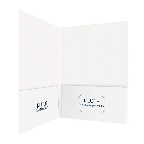 Klute Capital Fund Folders with Company Logo (Inside Right View)