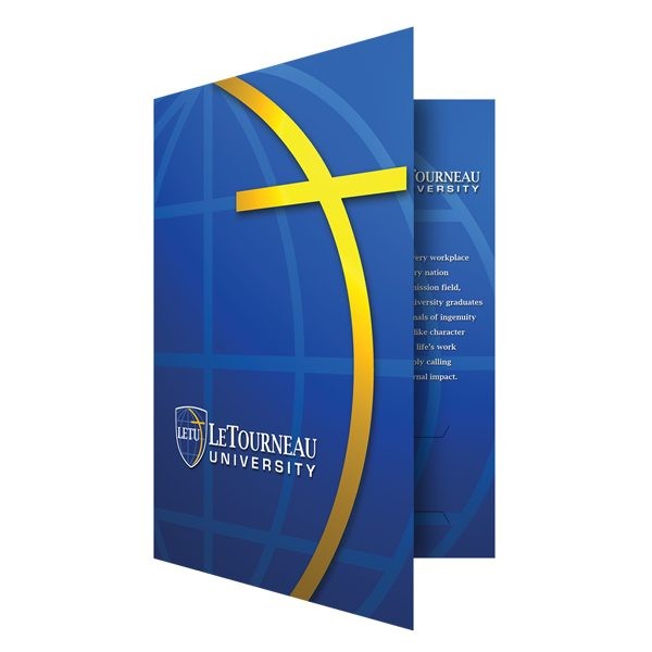 LeTourneau Blue and Gold School Folder (Front Open View)