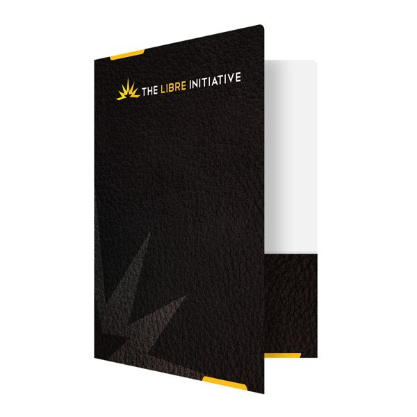 Libre Initiative Black and Gold Politics Folder (Front Open View)
