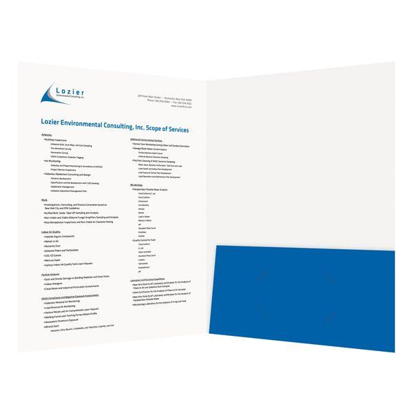 Lozier Single Blue Pocket Folder (Inside View)