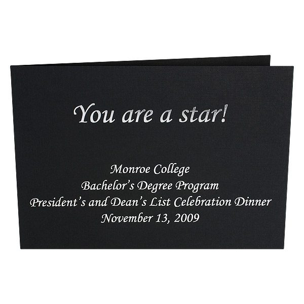 Black Photo Folders for Monroe College (Front View)