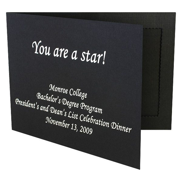 Monroe College Black Photo Folder (Front Open View)