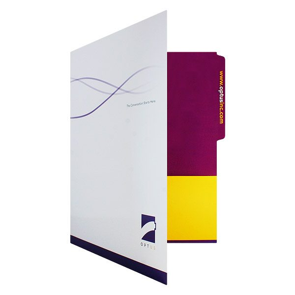 Custom Folders with Logo for Optus Telecommunications (Front Open View)