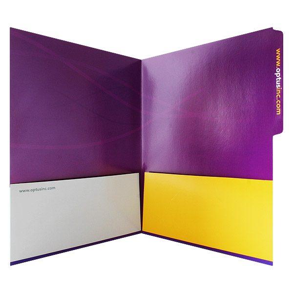 Optus Purple 2-Pocket Presentation Folder (Inside View)