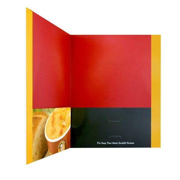 The Original Soup Man Presentation Folder with Seinfeld Slogan (Inside Pocket View)