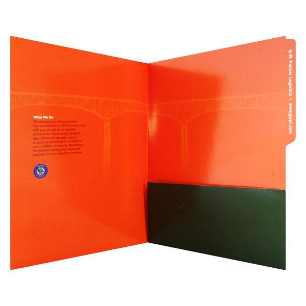 G.W. Palmer Single Pocket Tabbed File Folder (Inside View)