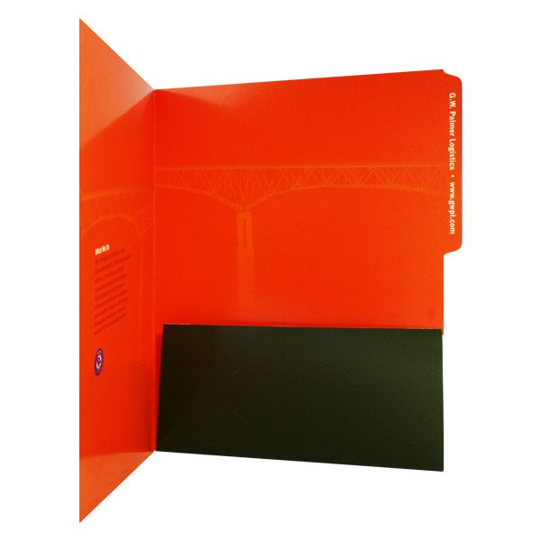 G.W. Palmer Logistics Bright Orange Presentation Folder (Inside Pocket View)
