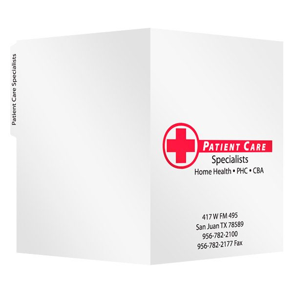 Patient Care Specialists Medical Tab Folder (Front and Back View)