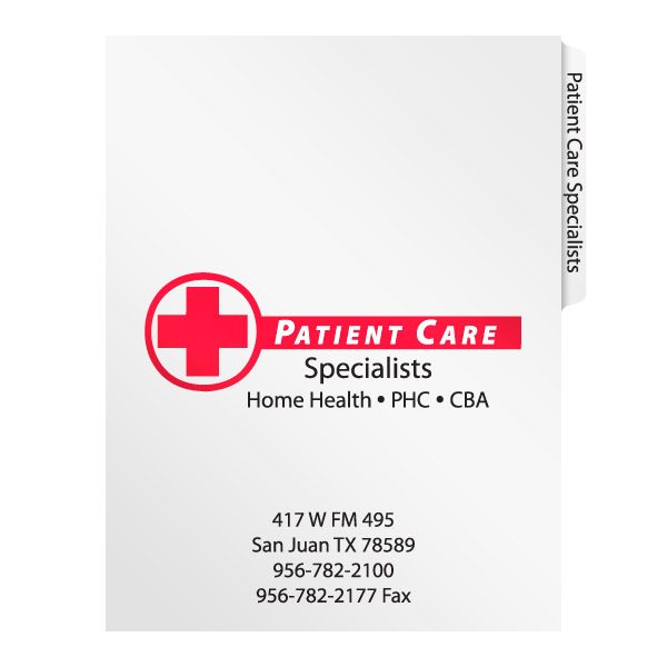 Patient Care Specialists File Folder (Front View)