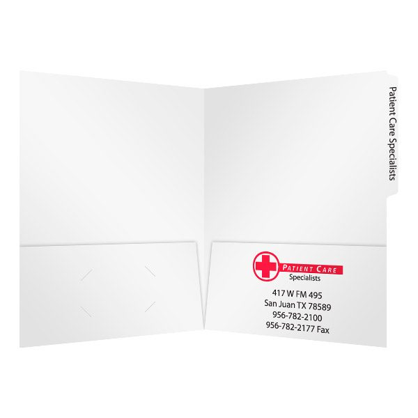 Patient Care Specialists Tabbed File Folder (Inside View)