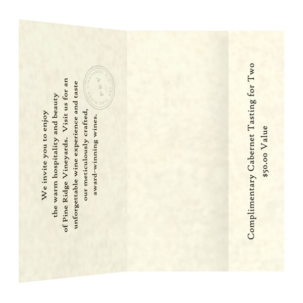 Pine Ridge Vineyards Small Invitation Folder (Inside View)