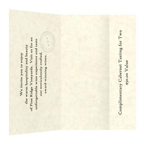 Pine Ridge Vineyards Small Invitation Folder (Inside View)