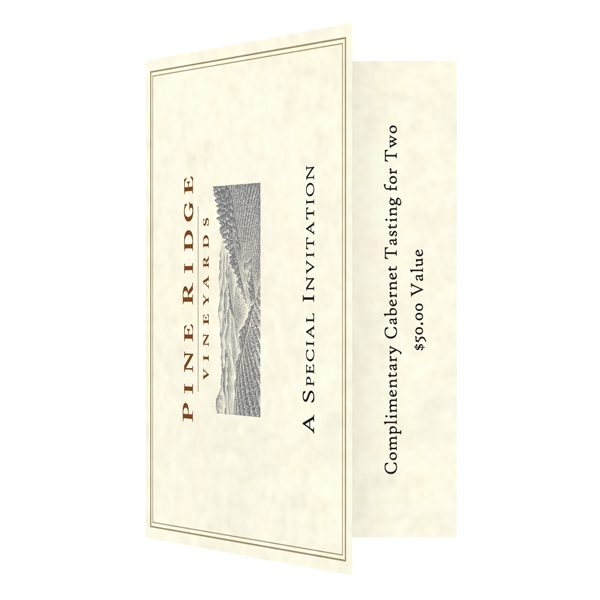 Pine Ridge Vineyards Single Pocket Invitation Folder (Front and Inside View)