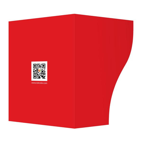 Riot Creative Presentation Folder with QR Code (Front and Back View)