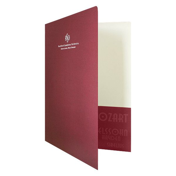 Rockford Symphony Orchestra Monogrammed Presentation Folder (Front Open View)