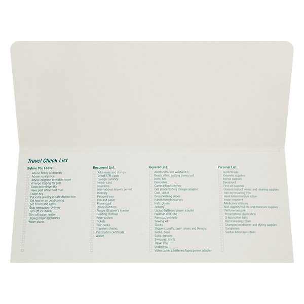 Tailwinds Travel Documents Checklist Folder (Inside View)