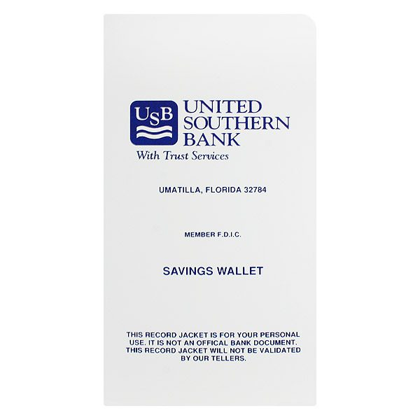 United Southern Bank Receipt Folder (Front View)