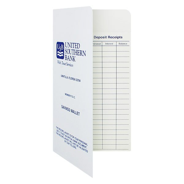 Banking Receipt Folders for United Southern Bank (Front Open View)
