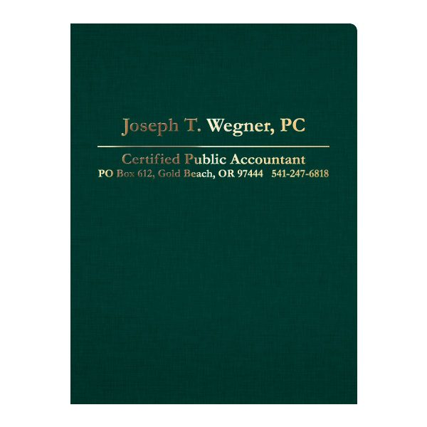 Wegner Certified Public Accountant Presentation Folder (Front View)