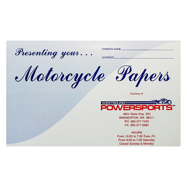 Westsound Powersports Motorcycle Dealership Folder (Front View)