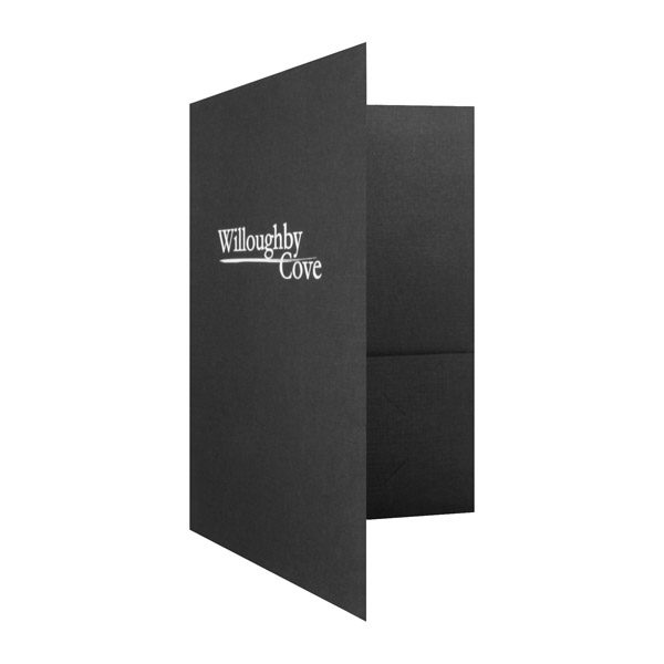 Pocket Folders with Logo by Willoughby Cove (Front Open View)