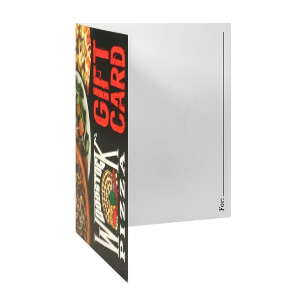 Woodstock's Pizza Custom Gift Card Folder (Inside Right View)